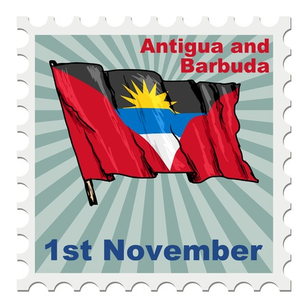 post stamp: post stamp of national day of Antigua and Barbuda