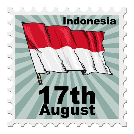 national day: post stamp of national day of Indonesia