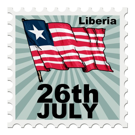 post stamp: post stamp of national day of Liberia Illustration