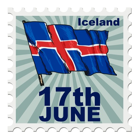 national day: post stamp of national day of Iceland
