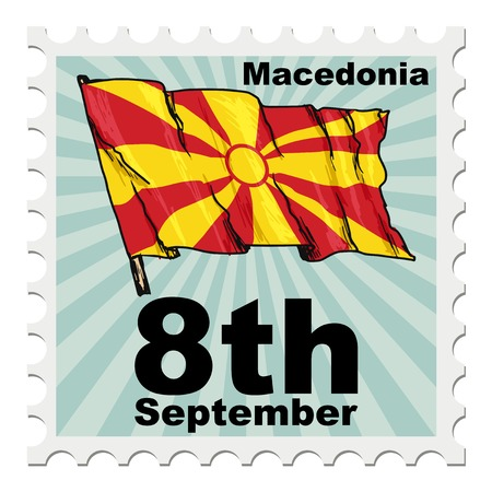 post stamp: post stamp of national day of Macedonia Vettoriali