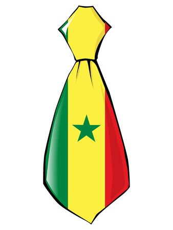 folded clothes: necktie in national colours of Senegal Illustration