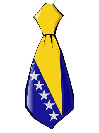 v�tements pli�s: necktie in national colours of Bosnia and Herzegovina