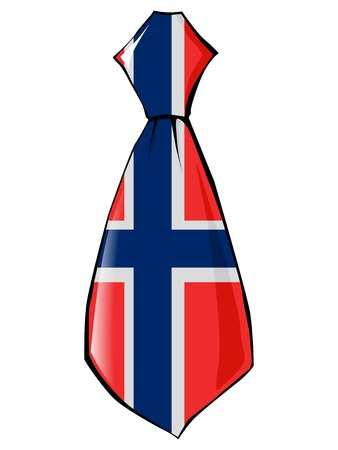 folded clothes: necktie in national colours of Norway