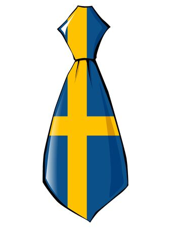 v�tements pli�s: cravate aux couleurs nationales de la Su�de