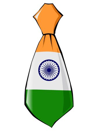 folded clothes: necktie in national colours of India
