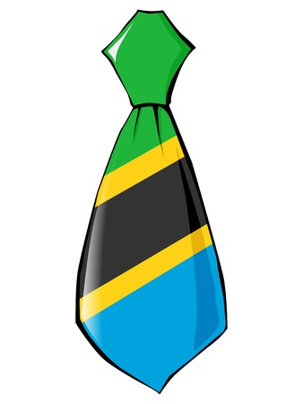 folded clothes: necktie in national colours of Tanzania Illustration