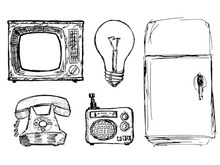 illustration technique: set of illustration of vintage domestic technique