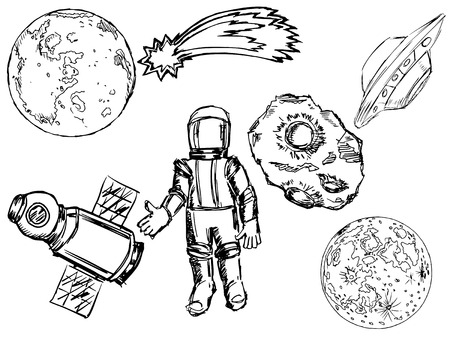 planetoid: set of illustrations of space objects