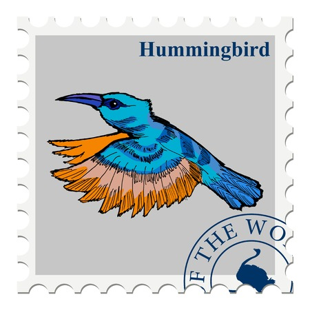 canceled: vector, post stamp with hummingbird, bird, wildlife motive
