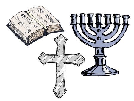 the attribute: set of hand drawn, sketch illustration of religion attributes Illustration