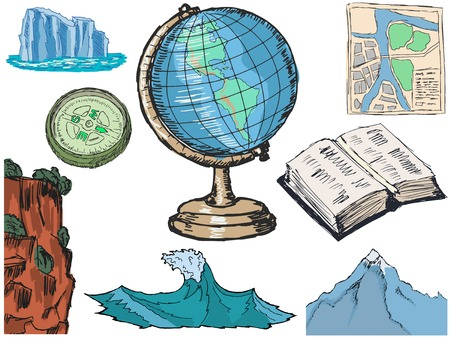 classbook: set of illustration of geography related objects