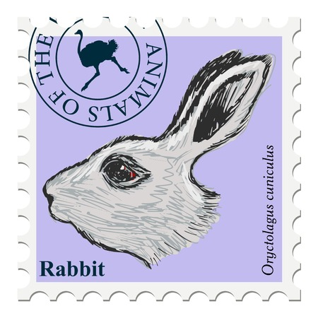 canceled: vector, post stamp with rabbit Illustration