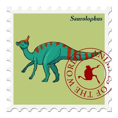 philately: vector, post stamp dinosaur