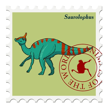 post stamp: vector, post stamp dinosaur