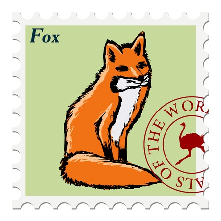 canceled: vector, post stamp with fox