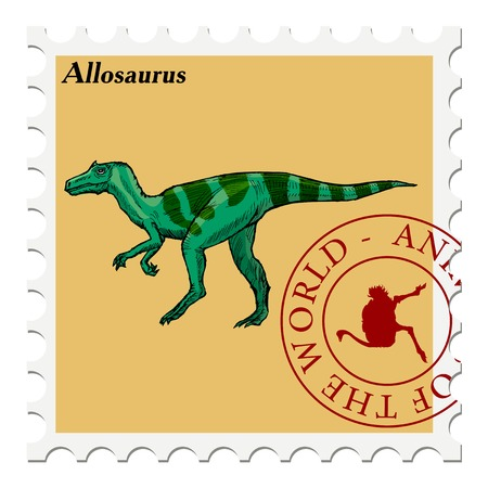 post stamp: vector, post stamp with dinosaur