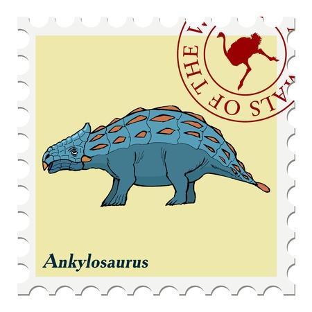 canceled: vector, post stamp dinosaur