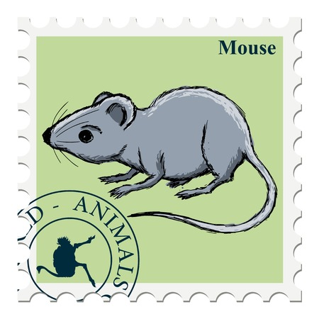 canceled: vector, post stamp with mouse