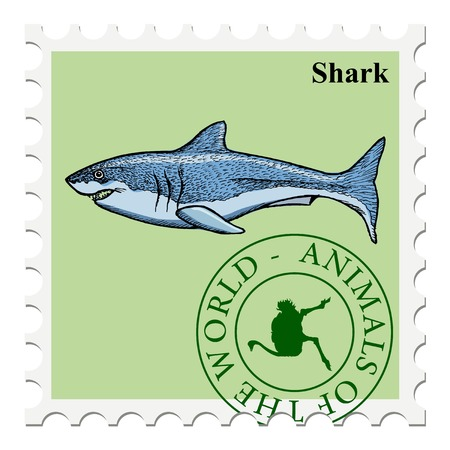 post stamp: vector, post stamp shark Illustration