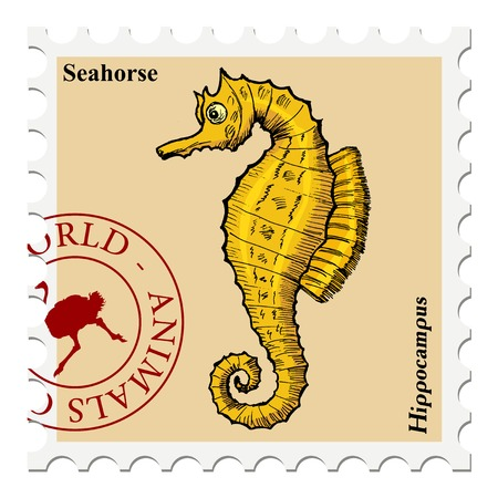 philately: vector, post stamp with fish Illustration