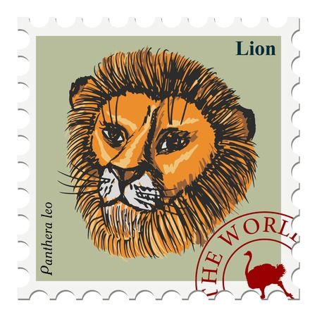 post stamp: vector, post stamp with lion