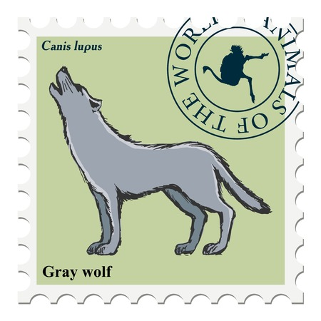 canceled: vector, post stamp with wolf
