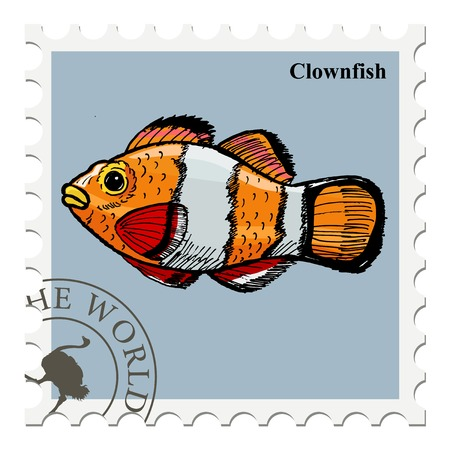 post stamp: vector, post stamp with fish Vettoriali