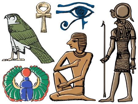 ojo de horus: Conjunto de dibujado a mano, ilustraciones de dibujo de los símbolos del antiguo Egipto