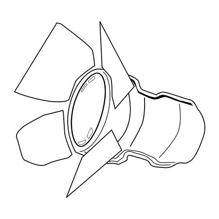 spot lit: outline illustration of spotlight, equipment of studio