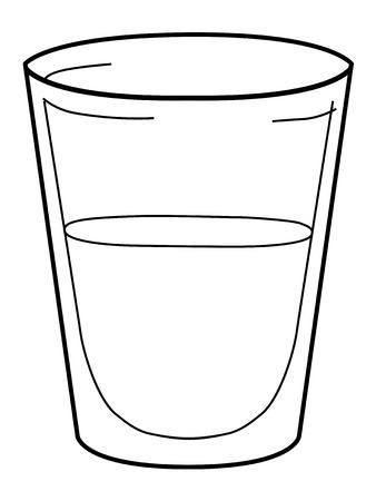 illustrazione di contorno di un bicchiere di acqua
