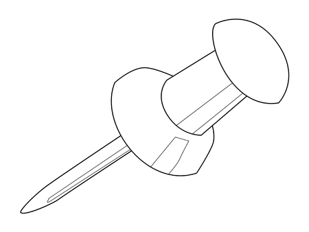 drawing pin: outline illustration of drawing pin