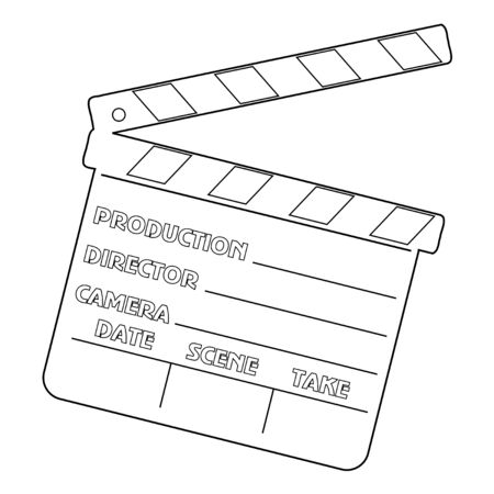 movie clapper: outline illustration of movie clapper, cinema object