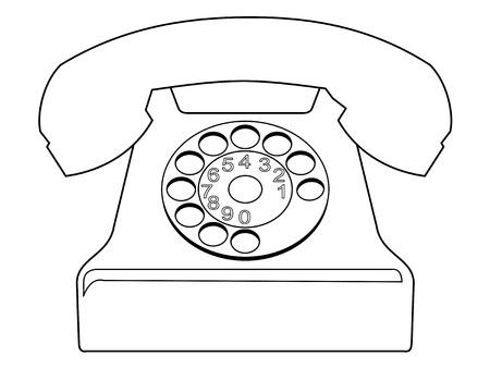 vintage phone: outline illustration of vintage phone Illustration