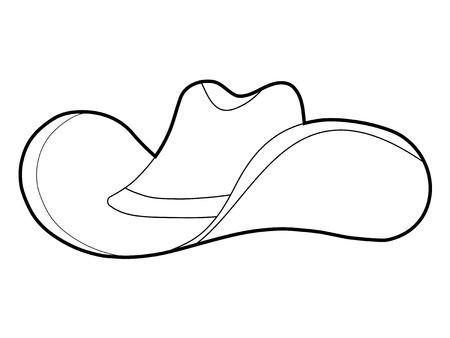 costume cartoon: outline illustration of cowboy hat