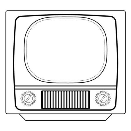 tv set: outline illustration of vintage tv set Illustration