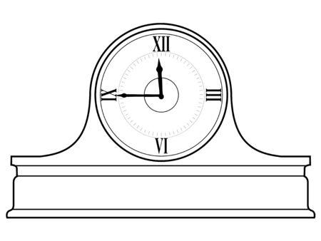 mantel: illustrazione di contorno di orologio mensola del camino Vettoriali