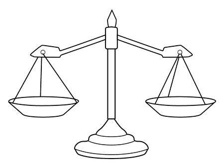 justice court: outline illustration of scales of justice Illustration