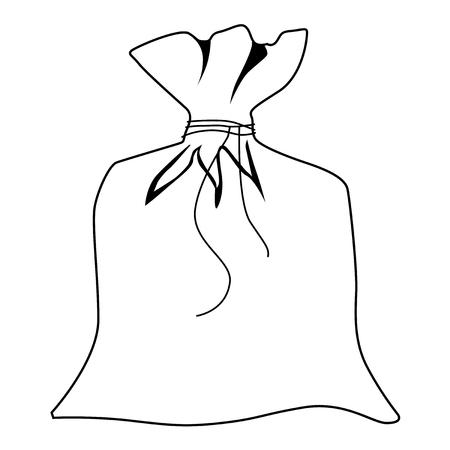 coffee sack: outline illustration of closed sack
