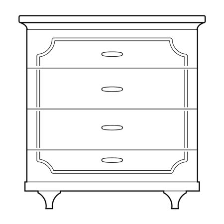 one bedroom: outline illustration of chest of drawers