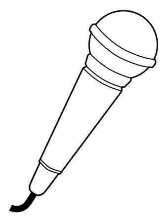 audio equipment: outline illustration of microphone, audio equipment Illustration