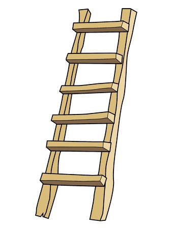 step ladder: vector illustration of ladder, working equipment