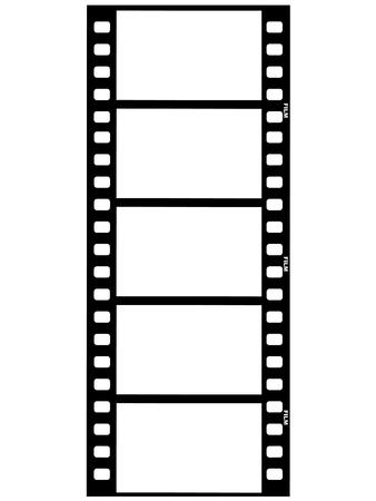 movie camera: outline illustration of film strip Illustration