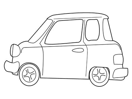 car side view: outline illustration of cartoon minicar Illustration