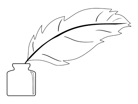 inkpot: outline illustration of feather and ink