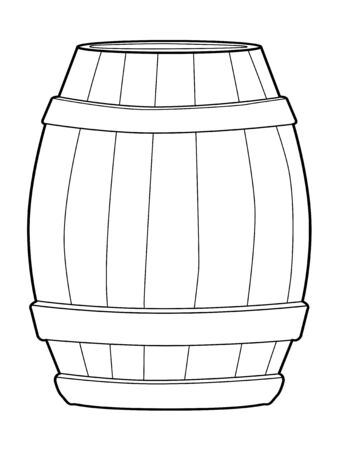 wooden barrel: outline illustration of wooden barrel