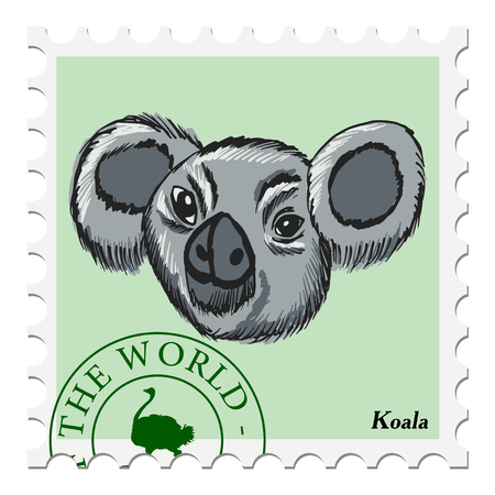post stamp: vector, post stamp with koala