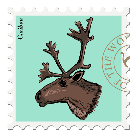 post stamp: vector, post stamp with caribou