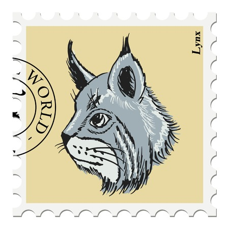 philately: vector, post stamp with lynx