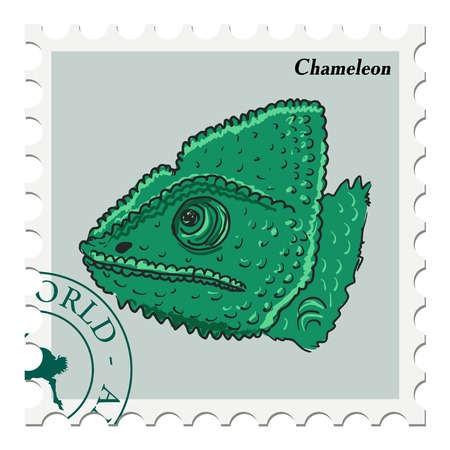 canceled: vector, post stamp with chameleon